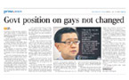 No change to government's position on homosexuality: Singapore