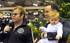 Elton John, husband and baby make public appearance in Singapore